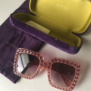 8d8c4a064a Gucci Accessories - NEW Gucci Pink Rhinestone Sunglasses 0148